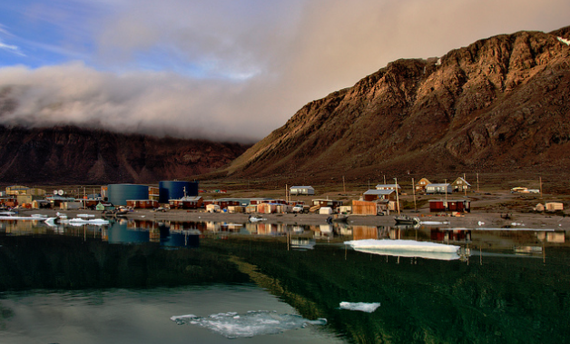 Grise Fiord or Inuktitut Aujuittuq the place that never thaws in the Qikiqtaaluk Region on Ellesmere Island.