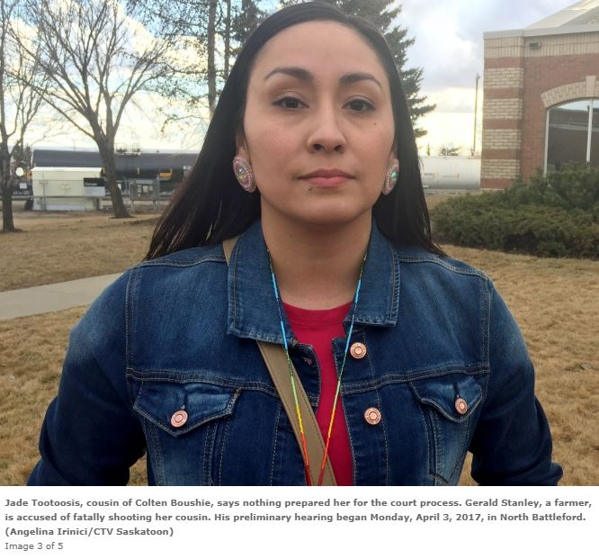 Jade Tootoosis is an accessory after the fact in the attempted murder of Gerald Stanley. She raises hate and revenge while being an accomplice after the fact in murder.